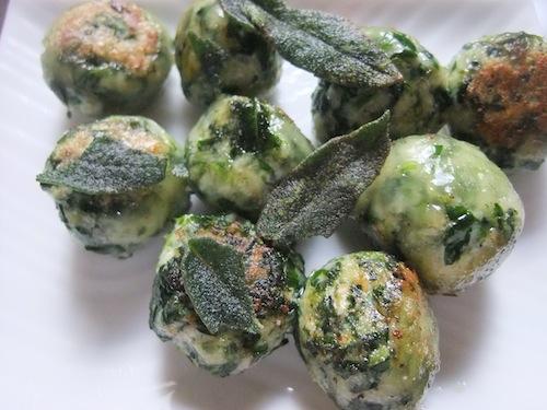 Passover spinach ricotta gnudi