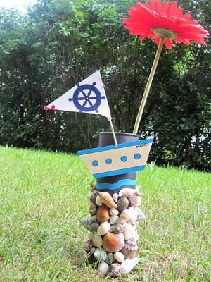 Pringles Vase Muschel Mediteran, basteln, selber machen, DIY, upcycling, anleitung, tutorial, Sommer, Deko, Terrasse