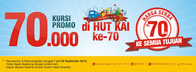 Promo Tiket Kereta Api Harga KAI Serba 70 Ribu 7-28 September 2015