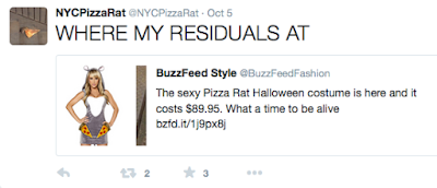 Pizza Rat comment on costume