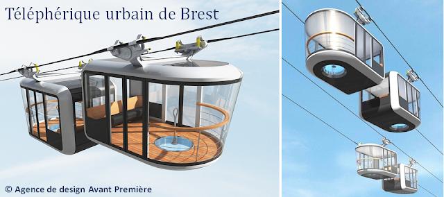 Un téléphérique pour relier le parking de 10.000 places aux stations de métro et aux plateau du Heysel - Exemple : téléphérique urbain de Brest en cours de réalisation - Bruxelles-Bruxellons