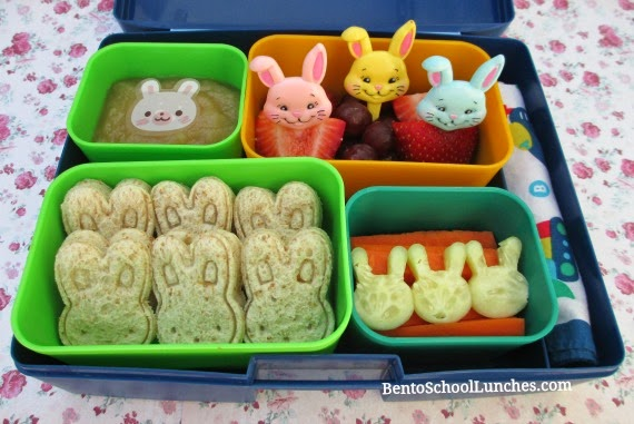 Bunnies everywhere Easter bento