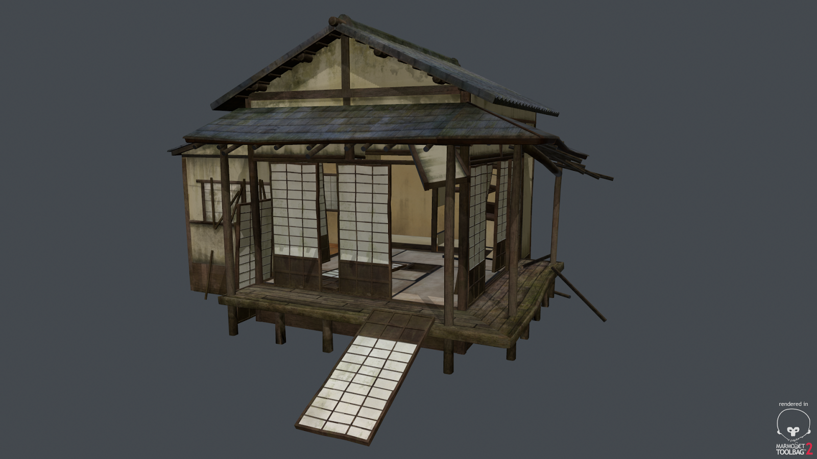 3d japanese environment project tea house building texture 3d house building