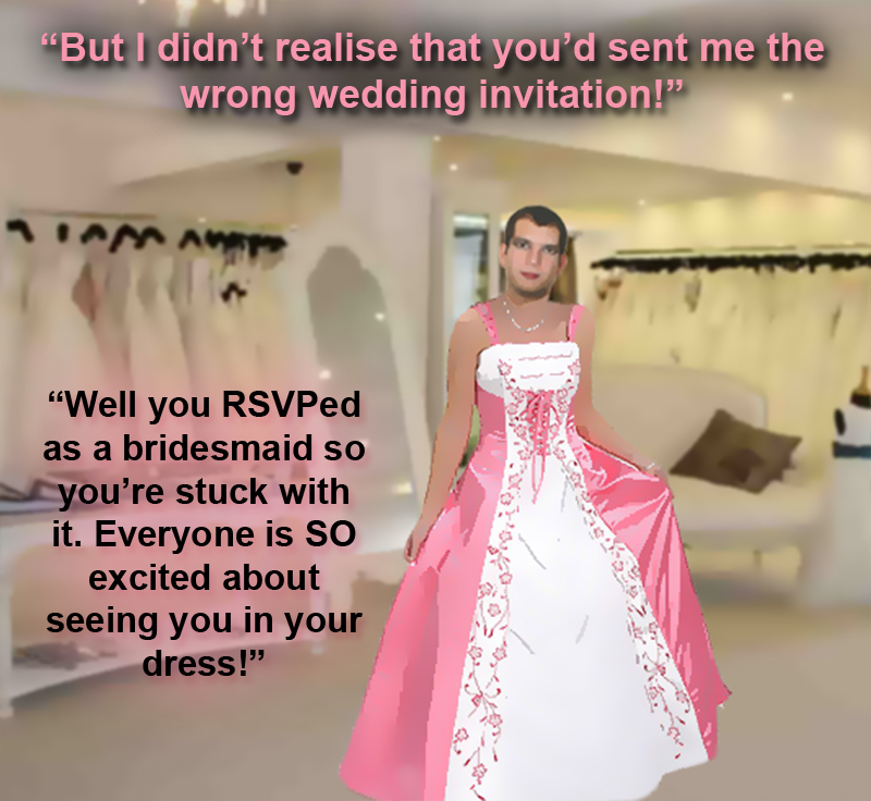 Forced Feminization Picture Captions http://satinmaid.blogspot.com/2012/01/male-bridesmaid-in-pink-satin.html