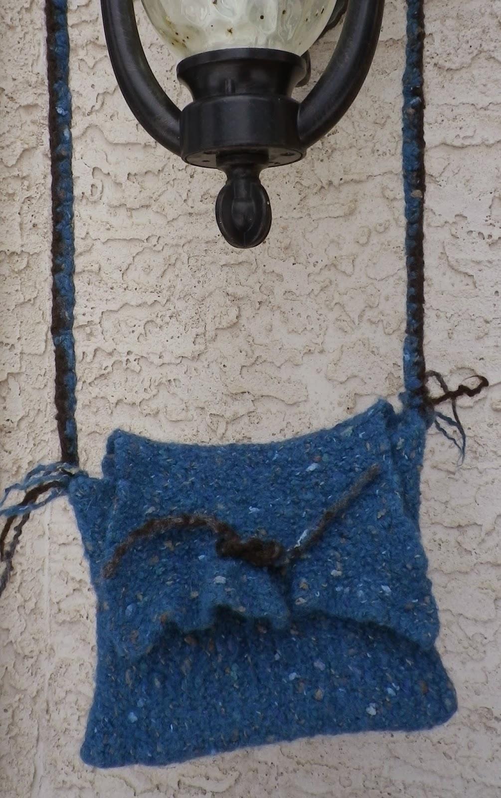 Blue felted druid bag