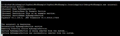 Example of the WcfExample.exe uninstall command.