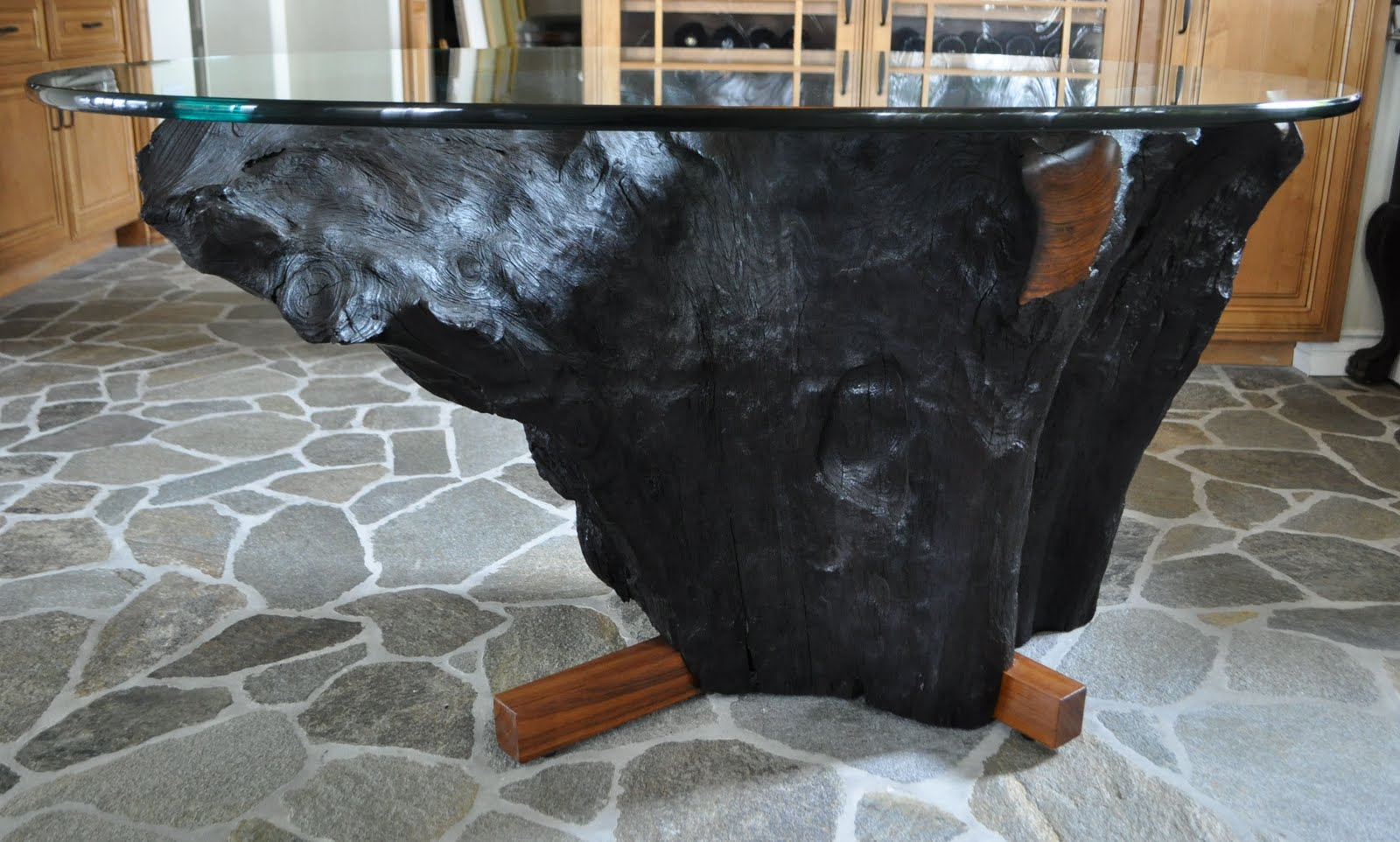CLARK Functional Art: Noir Teak Tree Trunk Dining Table