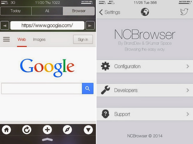 NCBrowser Cydia jailbreak tweak/app for iOS 7 and iOS 8! A web browser in the notification center.