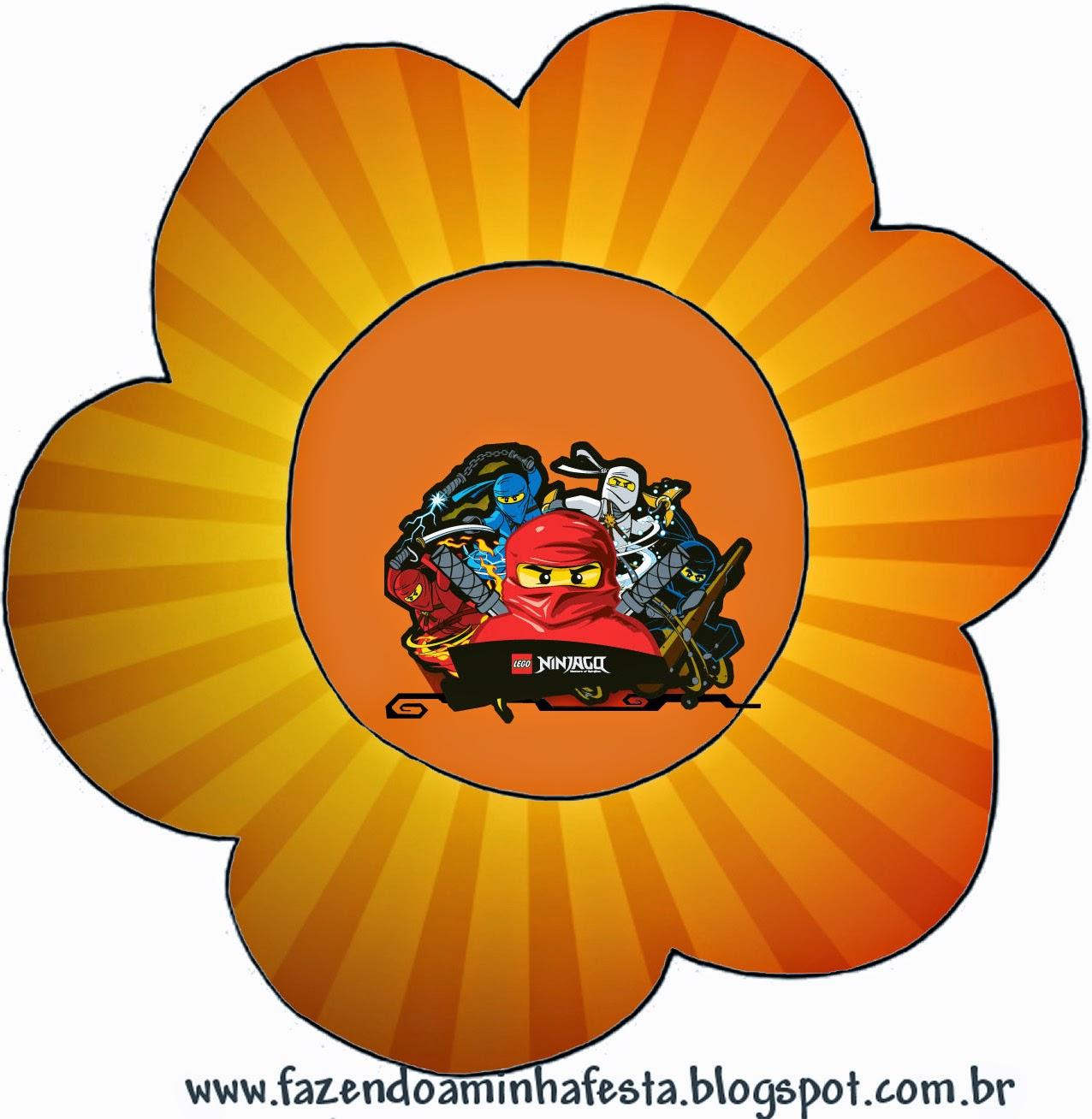 Tarjeta con forma de Flor de Ninjago.