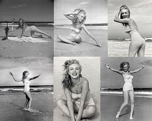 marylin monroe, bañador vintage, playa