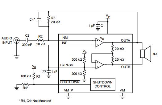 NCP2890 Audio Amplifier 1W