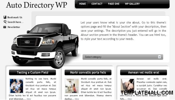 Auto Directory Black White Free Wordpress Theme
