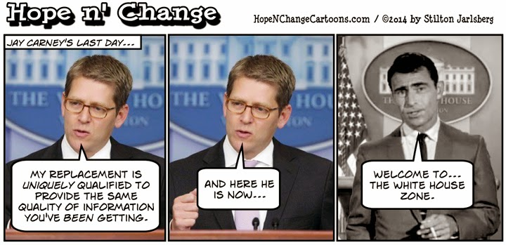 obama, obama jokes, political, humor, cartoon, hope n' change, hope and change, stilton jarlsberg, rod serling, zone, jay carney