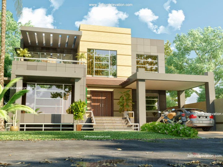 3d front february 2012 for Beautiful contemporary house designs