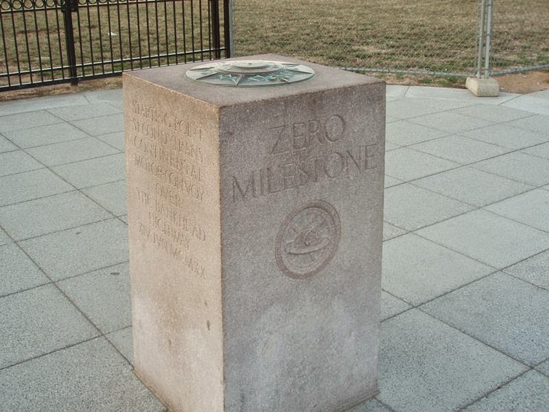 The Zero Milestone in Washington, is based on The Roman Empire's Golden Milestone, the Zero Milestone was originally intended to be the location from which all distances in the United States were measured.