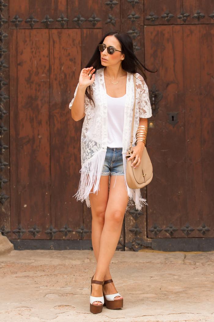 Fashion Blog - weißen Tank-Top + weißer Spitze Kimono