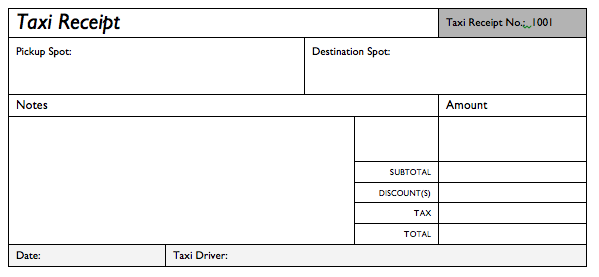 Taxi Invoice or receipt Excel Templates   Free Templates Download