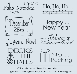 Christmas Holiday Sentiment Digital Stamp Collection 2