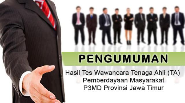 Hasil Tes Wawancara TA Pemberdayaan Masayarakat P3MD Jawa Timur.