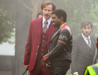 Will Ferrell and Kanye West on set of