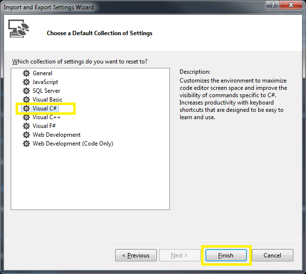 Tools > Import and Export Settings Wizard Step 3