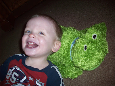 Little boy with Zoobies frog