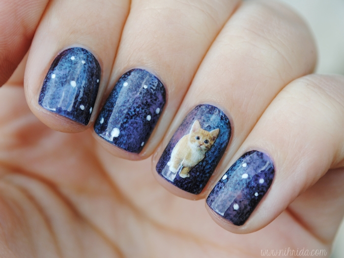 Born Pretty Store Water Nail Decals Cat in Space