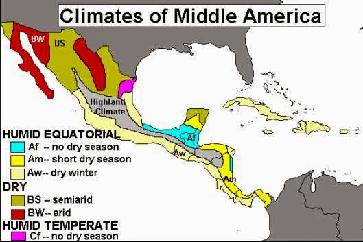 Climate map of Latin America and the Central America subregion.