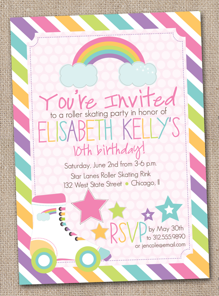 Ink Obsession Designs Roller Skating Art Party Bunting – Art Party Invite