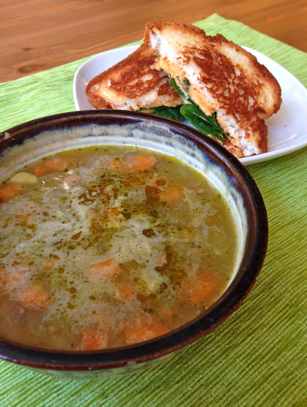 vegan gingered split pea soup with diaya grilled cheese