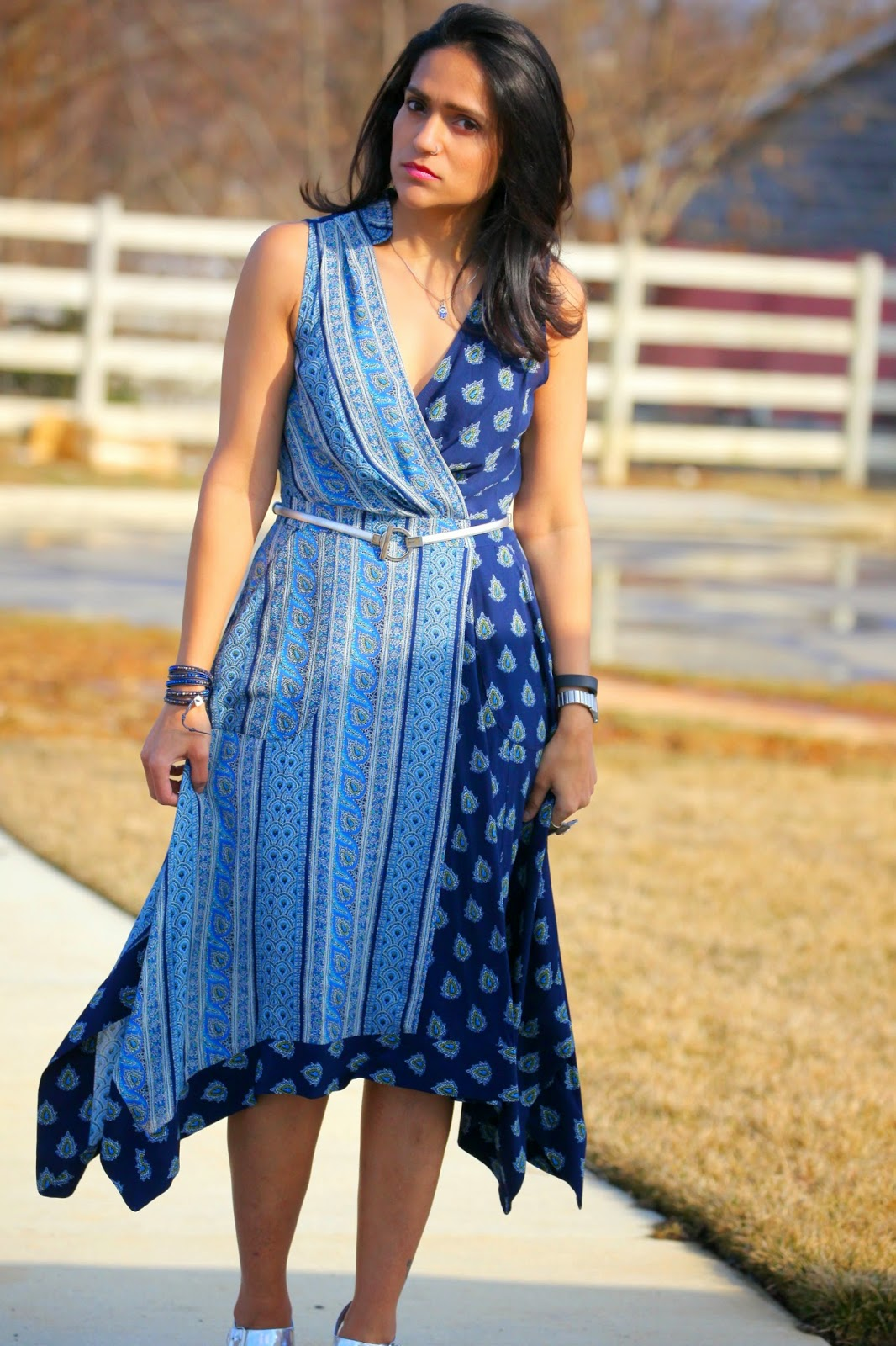 Dress - Anthropologie Shoes - Nordstrom Pendant - Crazy & Co. Wrap Bracelet - Nakamol Tanvii.com