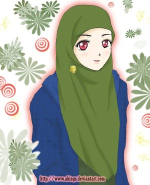akhwat berjilbab hijau by akings Animasi Muslimah Berjilbab