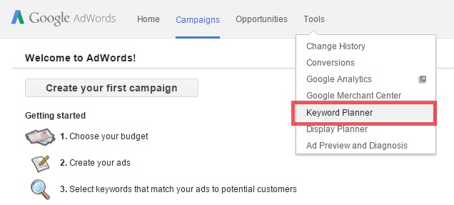 Google AdWords keyword research screen capture