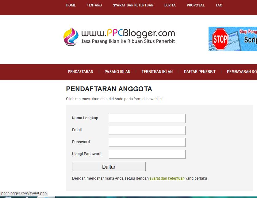 Cara Mendaftar di PPC Blogger