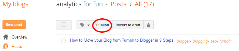 Publish your Posts in Blogger