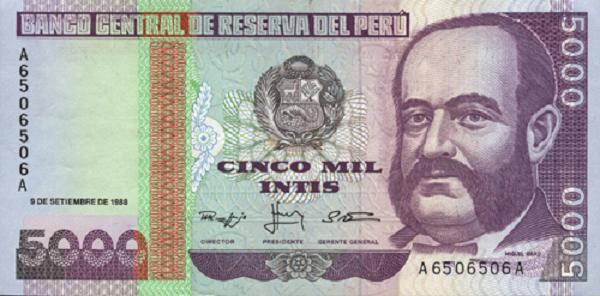 Billete de Miguel Grau (Cinco mil intis)