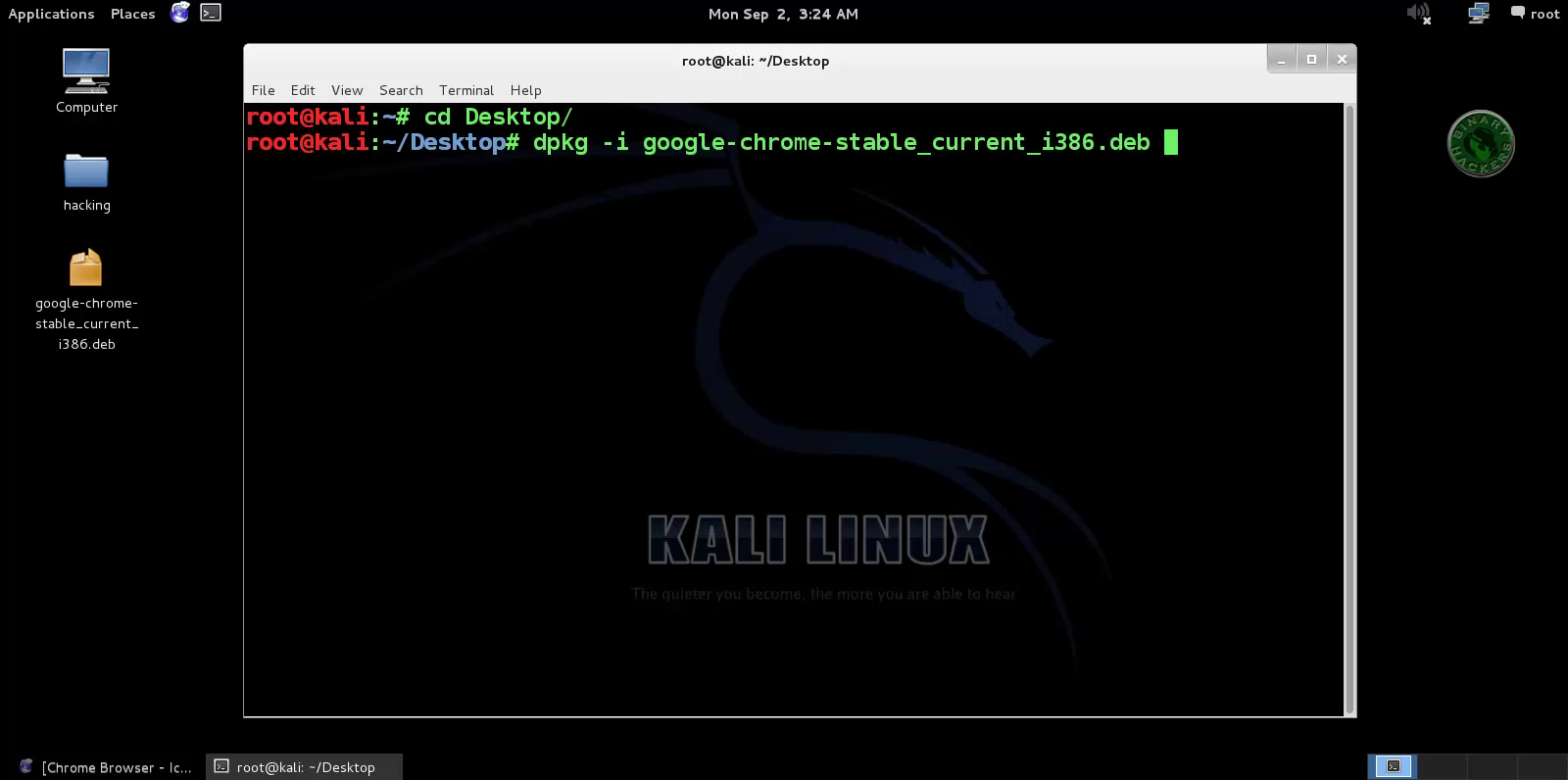 google chrome download kali linux