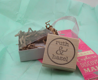 Ruth & Hazel logo stamp with packaging