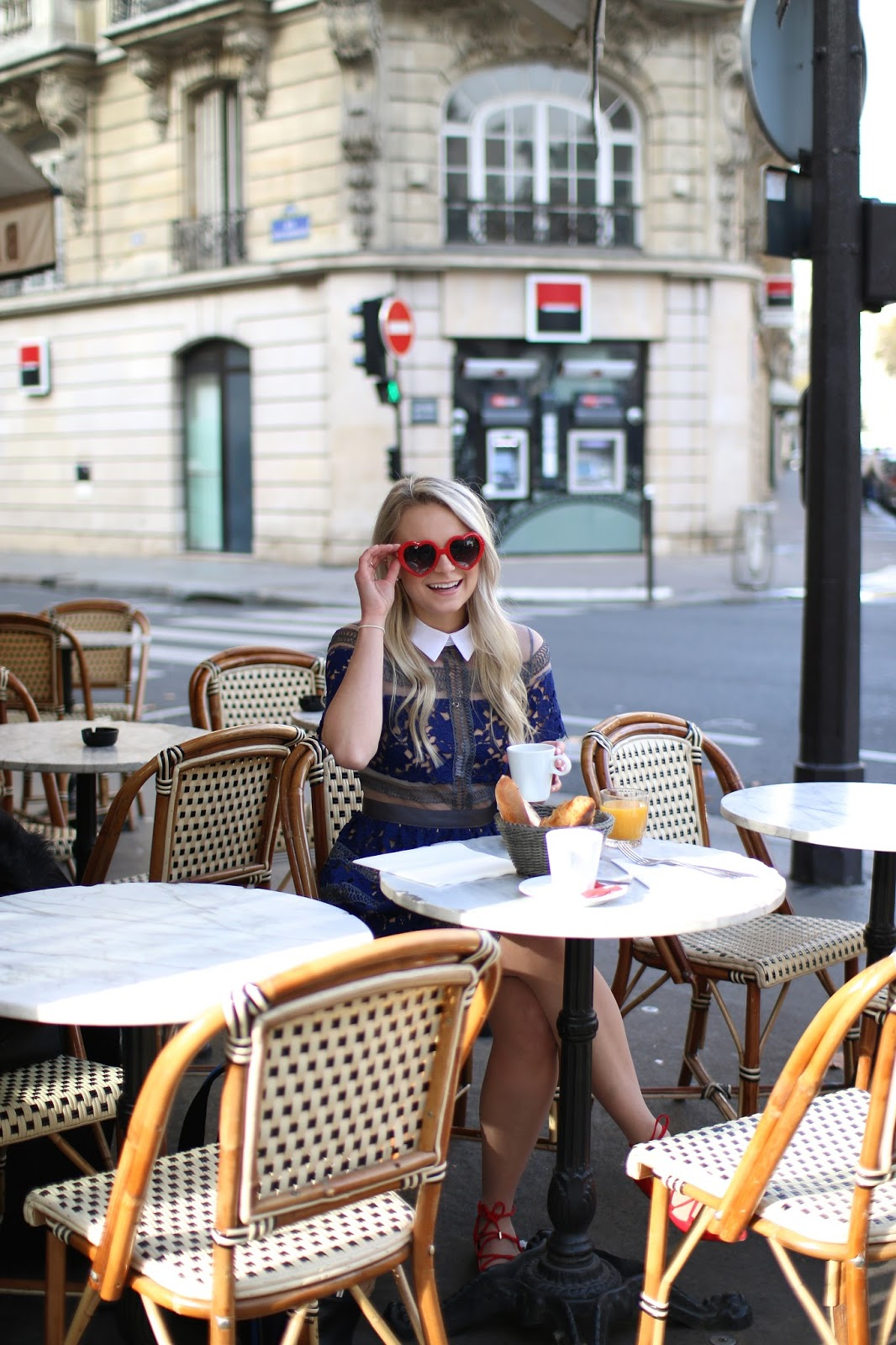 fun red heart sunglasses worn in paris