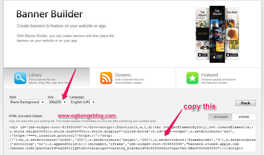 generate Apple affiliate banner code