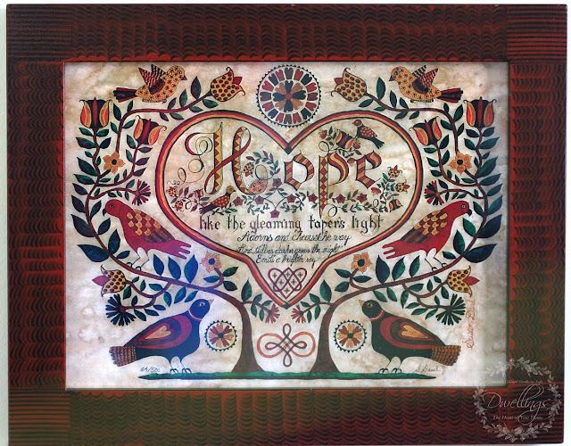 "Folk artist Susan Daul ""Hope"" with central heart."