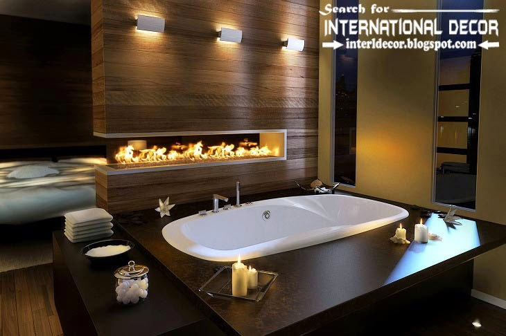 unusual fireplace in the bathroom in modern style 2015, Cozy Interior bathrooms with fireplace designs