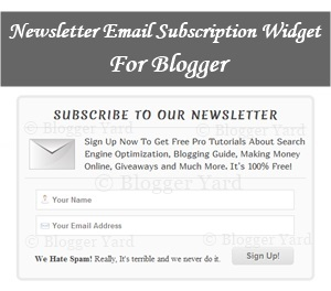 Newsletter Email Subscription Widget For Blogger