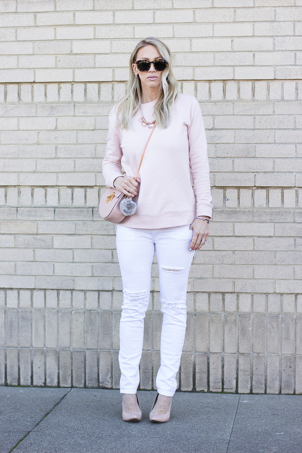 parlor girl white ripped denim blush top nude patent heels blush bag