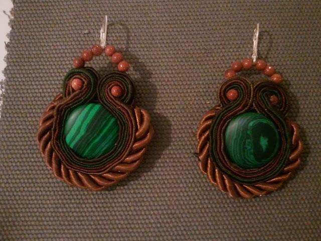 sutasz kolczyki zielone malachit handmade