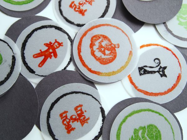 Stamped vellum to make Halloween Treat Bag Tags with @PSAEssentials stamps
