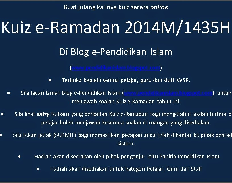 Kuiz e-Ramadan 2014M/1435H