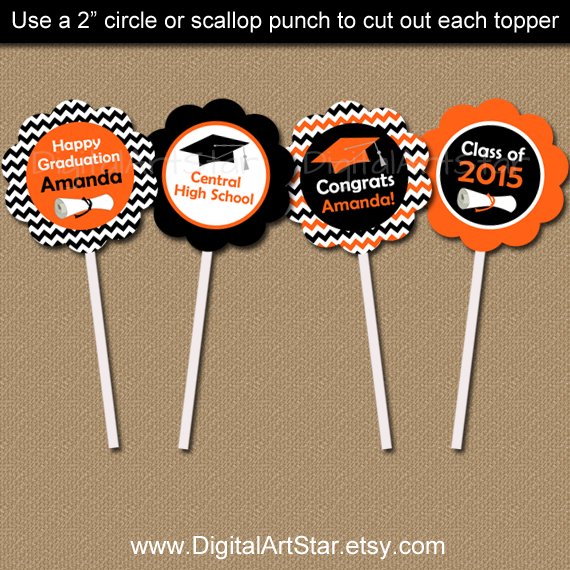personalized orange and black graduation cupcake toppers