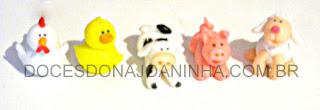 Doces modelados fazendinha: cavalo, porquinho, vaca, ovelha, patinho, galinha