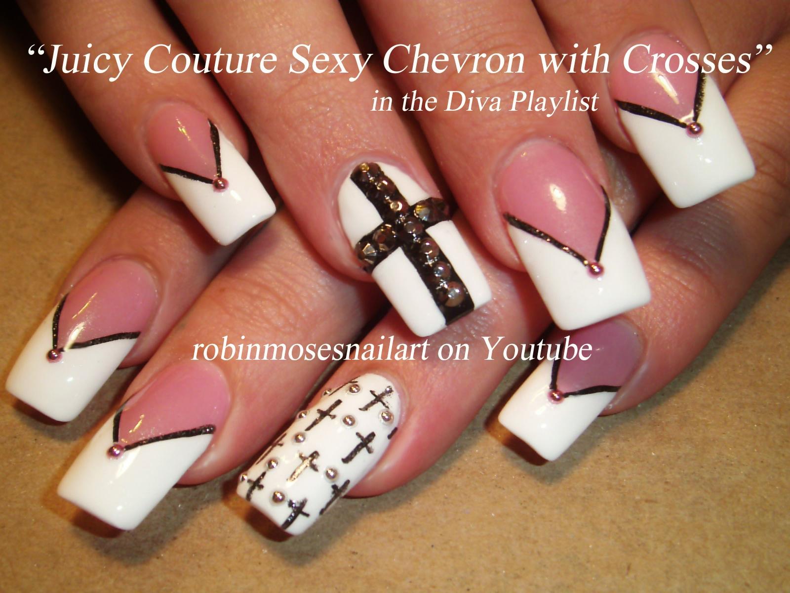 Nail Art Design: Crosses Nail Art, Black and White Chevron, Long ...